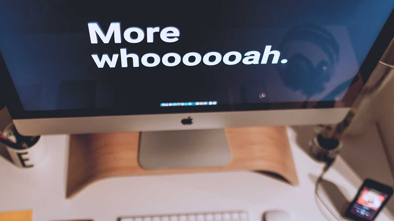 "Closeup of a computer screen with the words ""More whoooooah."""