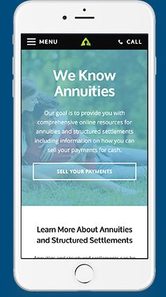 Example of annuity.org as it appears on an iPhone