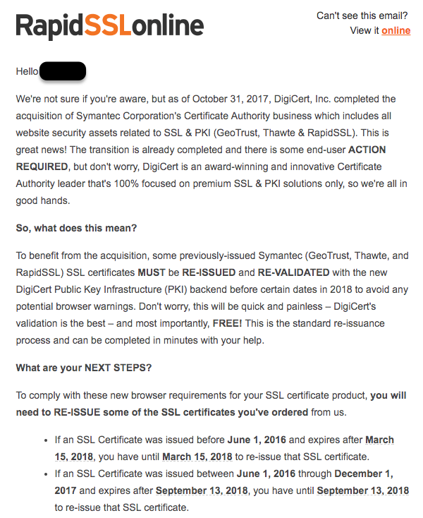An email from RapidSSL notifying users to get a reissued security certificate.