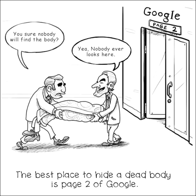 A cartoon drawing that depicts to mobsters hiding a dead body on page 2 of Google's search results. The caption reads 'The best place to hide a dead body is page 2 of Google.'